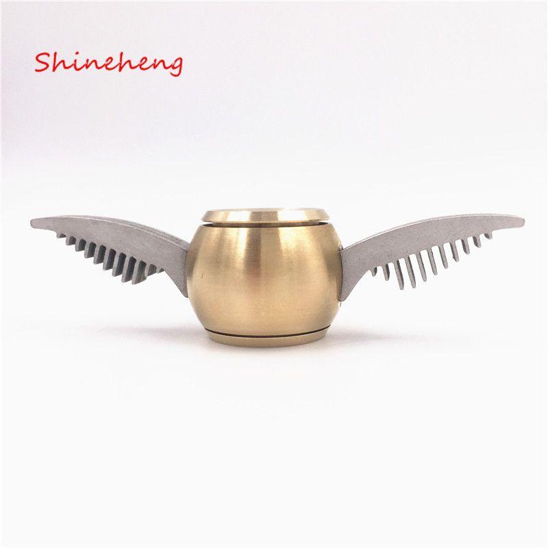 Shineheng Snitch Dorada Fidget Spinner Spinner Mano Juguete Para EDC ADHD Rueda de Metal Anti-Estrés Juguetes Stres Spiner