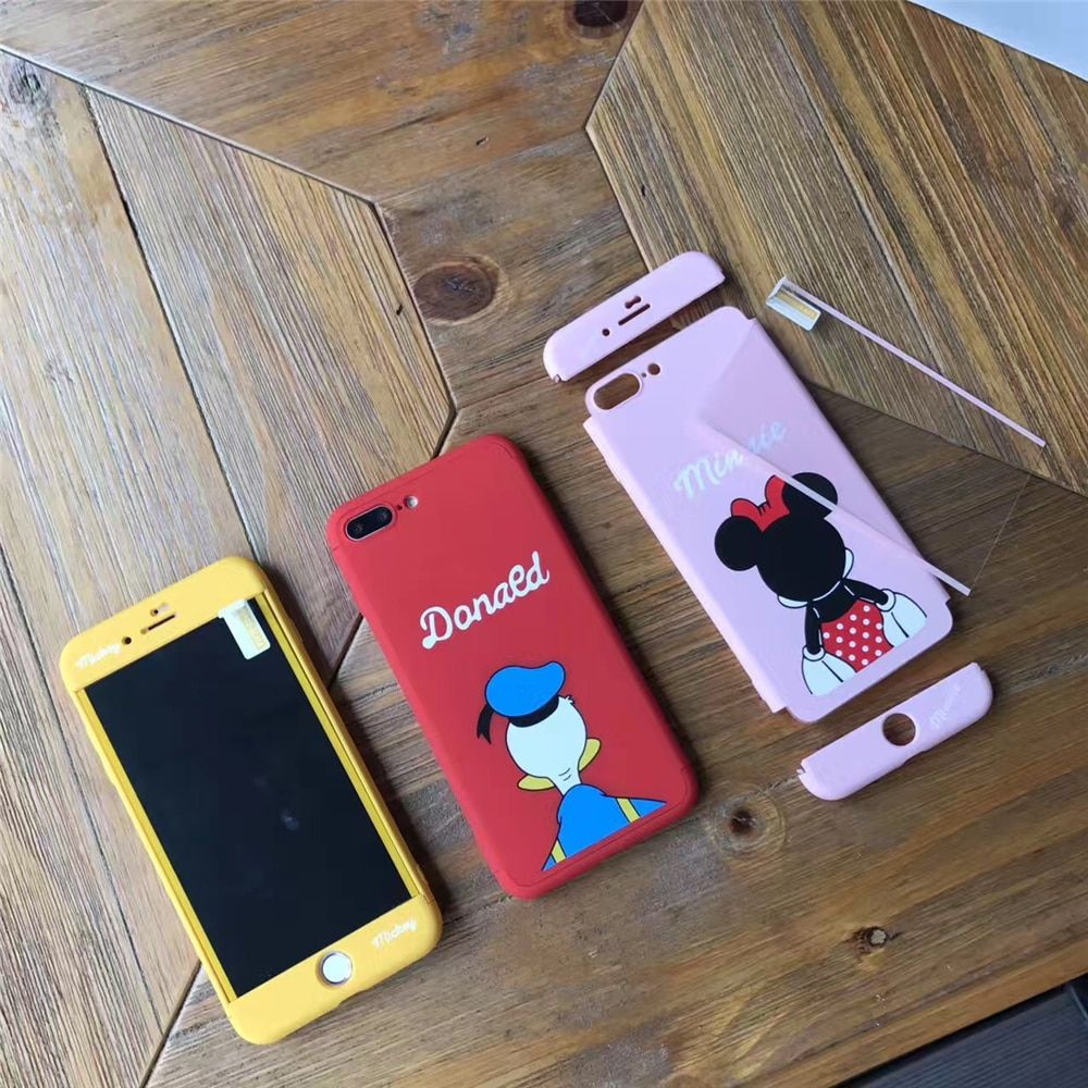 Dessin animé de Mickey Mignon Canard Souris Couverture Complète Cas Pour iPhone 7 Cas 5 5S 6 6 Splus 7 Plus Souris Bryant Curry 360 Full Body Cas