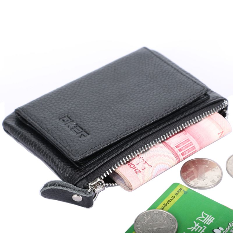 New Hasp Button Zipper Genuine Leather Coins Purse Black Color ID Credit Card Holder Multi Function Coin Wallet For Men & Women