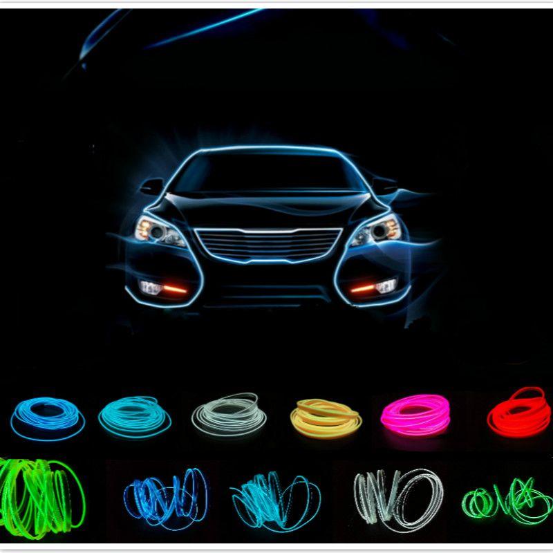 JURUS 5 m auto intérieur led el fil souple corde tube néon lumière ligne 10 couleurs avec 12 v inverseur de voiture contrôleur livraison gratuite