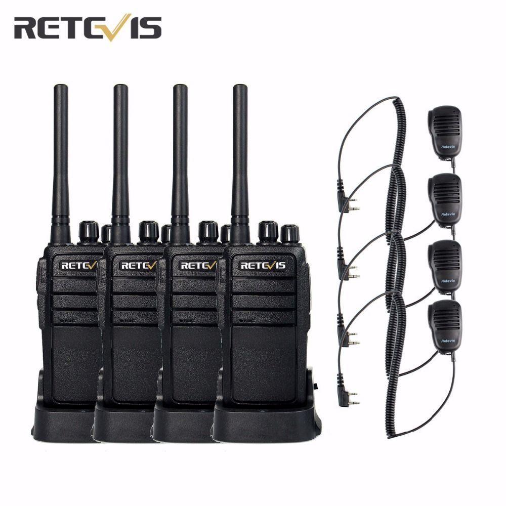 4 pcs Retevis RT21 Walkie Talkie+4X Mini Speaker UHF400-480MHz 16CH CTCSS/DCS TOT VOX Scan Scrambler 2.5W Portable Radio A9118A