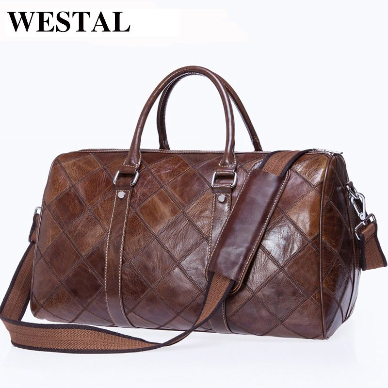 WESTAL Men Travel Bag for Luggage Men Genuine Leather Duffle Bag Suitcase Carry on Luggage Bags Big Weekend Bags Travel 8883