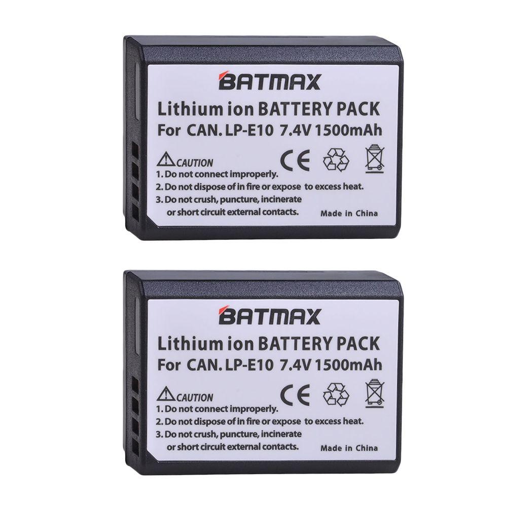 2 pièces LP-E10 LP E10 LPE10 Batterie Appareil Photo pour Canon EOS 1100D 1200D 1300D Baiser X50 X70 X80 Rebelles T3 T5 T6
