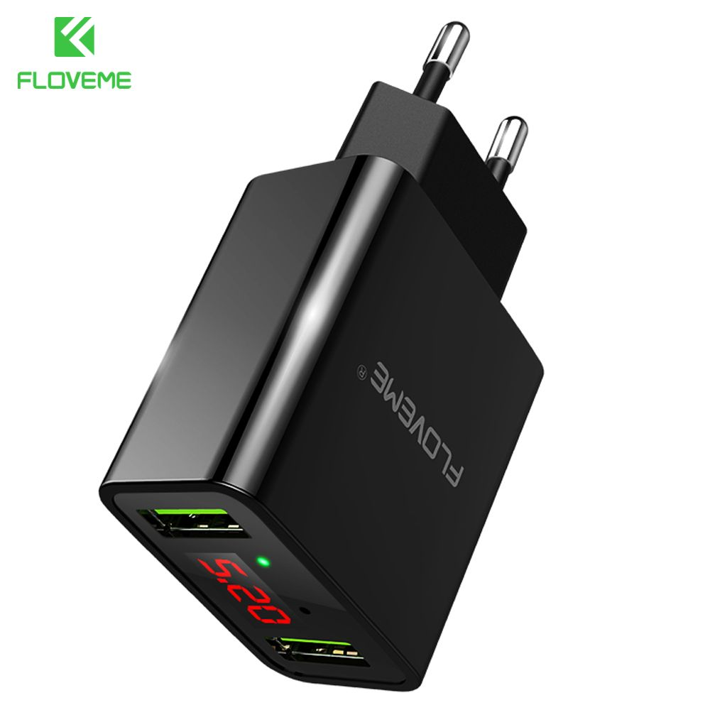 FLOVEME Smart USB Charger Dual USB LED Digital Charging Adapter For iPhone Samsung Xiaomi EU Plug Wall Travel Chargers For Phone