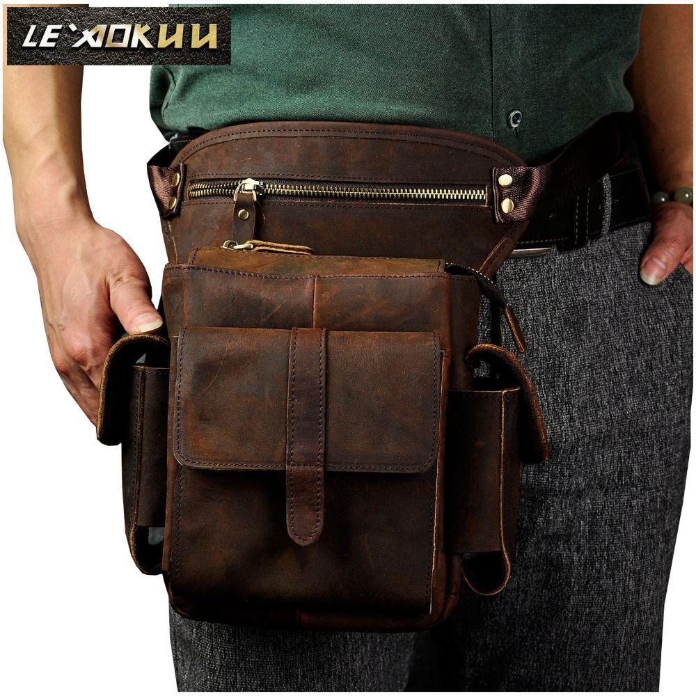 Echtes Leder Männer Design Casual Messenger Crossbody Sling Bag Multifunktions Mode Gürtel Pack Bein Drop Tasche Pad Beutel 913-5