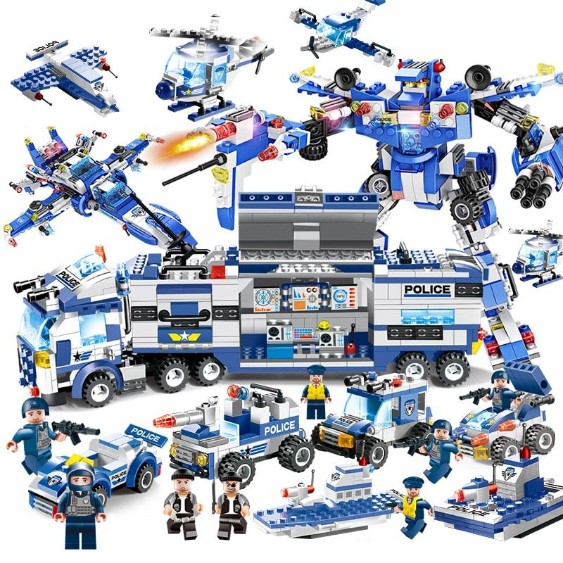 725PCS 825PCS Upgrade 8 IN 1 Robot Aircraft Car City Police Series SWAT Series Building Blocks Military Bricks Toy For Children
