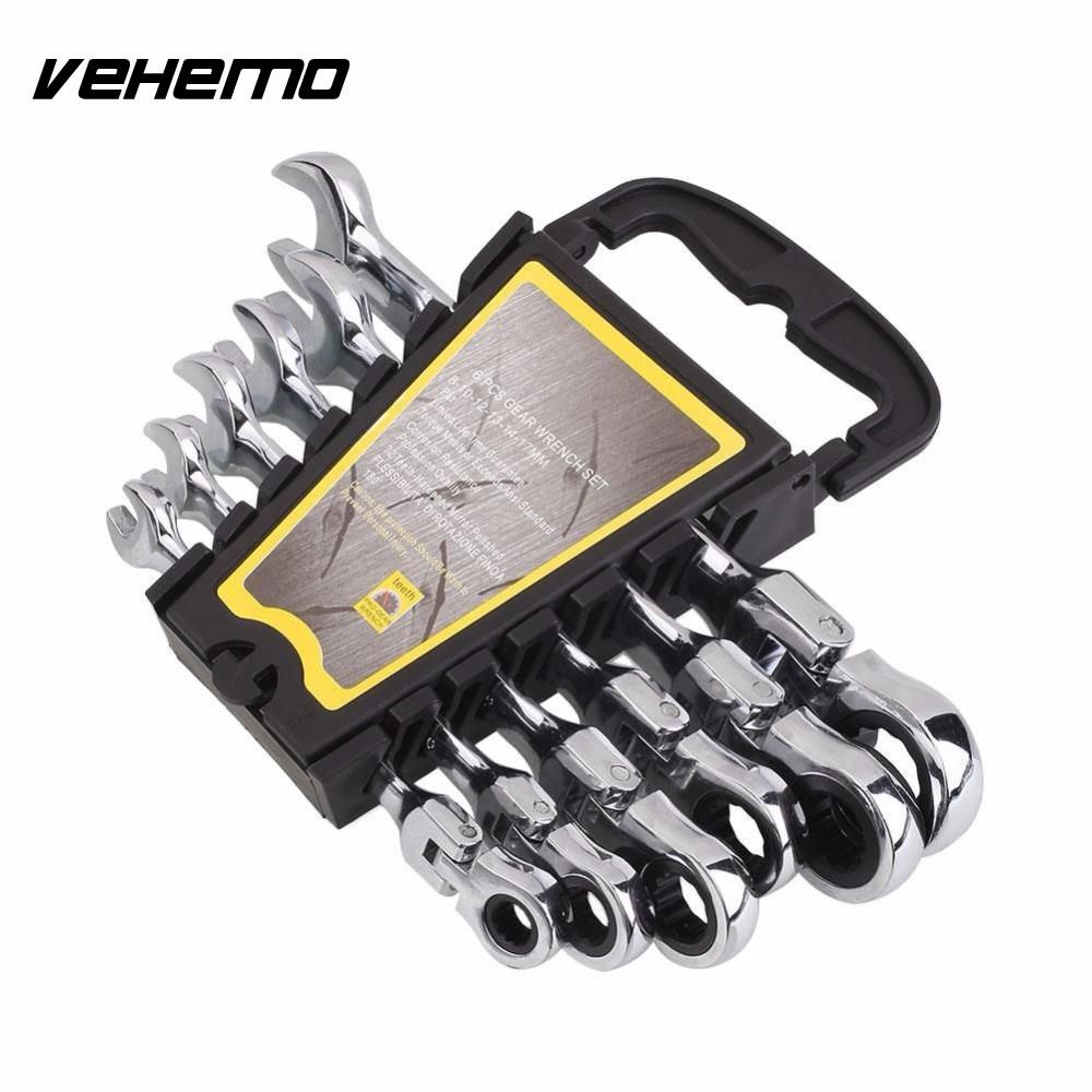 Vehemo 6pcs 8-17mm Activities Gears Wrench Set Wheel Ratchet Repair Tools Torque Combination Wrenches Spanner Allen Keys