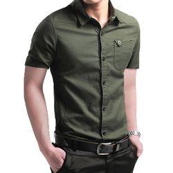 2018 ECTIC hommes de chemise à manches courtes, pur coton chemise en été, pur couleur corps de réparation et loisirs chemise M123584