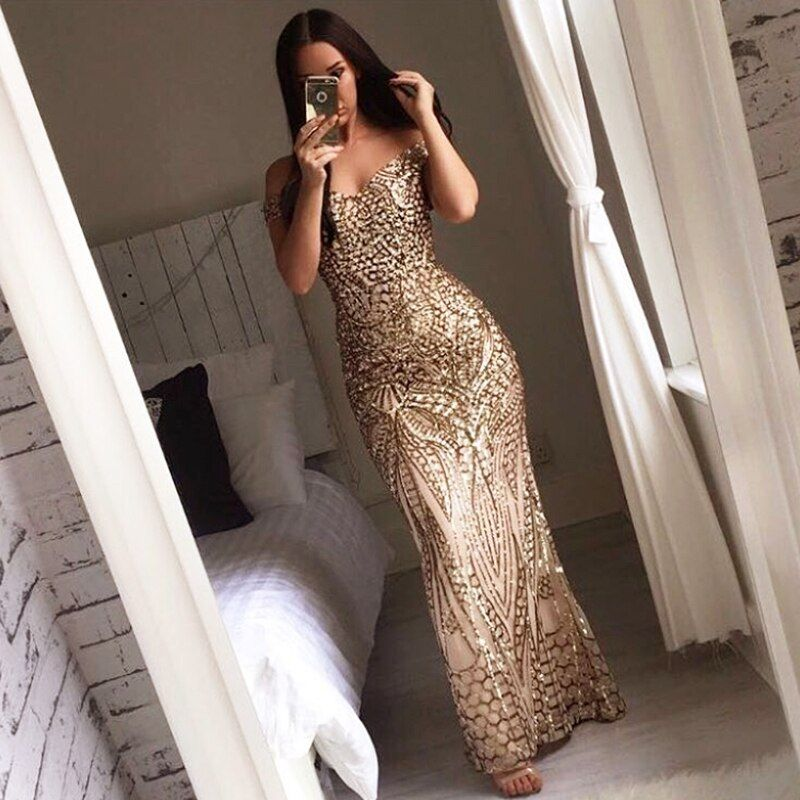 Sexy Gold Shiny Sequin Maxi Party Dress Off Shoulder Long Lining Low Cut Floor Length Retro Evening Gown Blue Green Black Dress