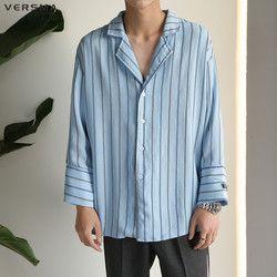 Versma Korea Longgar Bf Pajamas Style Harujuku GD Kemeja Kasual Pria Bergaris Vintage Chemise Camisa Pria Kemeja Lengan Panjang Anak Laki-laki gadis