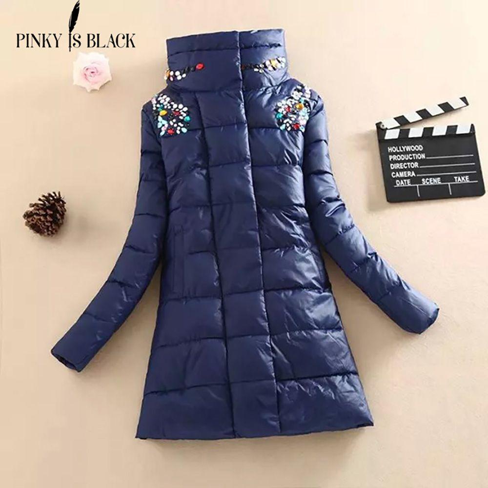Pinky Is Black winter coat women Crystal medium-long coat parka female diamond outerwear women cotton-padded winter jacket women