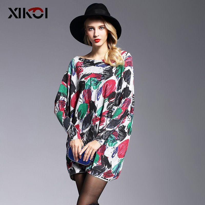 XIKOI Oversize Pull Femmes Mode Pull Long Manches Chauve-Souris Pull Imprimer Slash Cou Pulls Tricoté Femmes Chandails