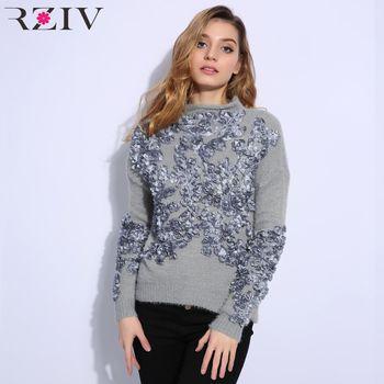 RZIV 2018 Осенне-зимняя обувь свитер для женщин и пуловеры для отдыха цветы вышитые патч вязаный свитер