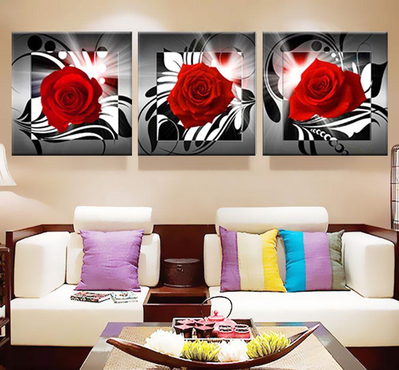 Toile impression Roses Moderne Art Modulaire photos Peintures pour la cuisine Affiche sur le Mur Imprimer fleurs triptyque décor À La Maison