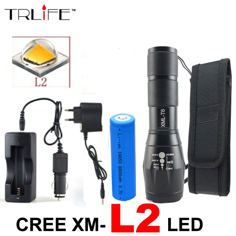 High Power 8000 Lumens Flashlight cree XML L2 Torch Adjustable Led Flashlight +DC/Car Charger+1*18650 <font><b>Battery</b></font>+Holster Holder