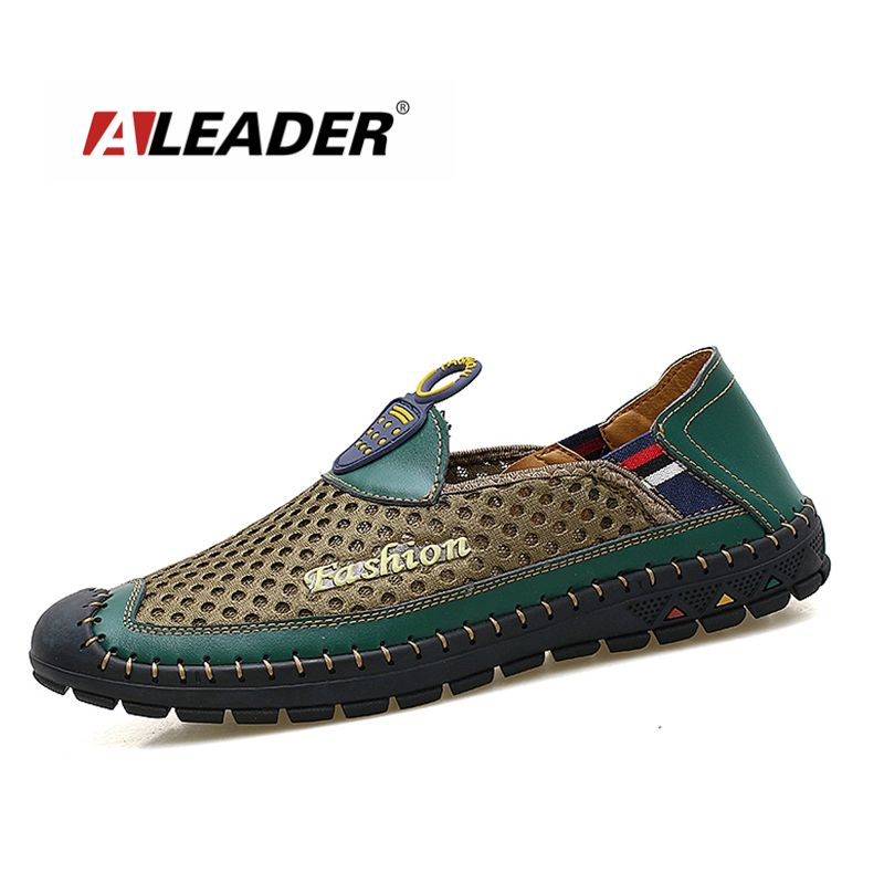 ALEADER Mens Breathable Summer Shoes Casual Slip On Mesh Flat Shoes For Men Comfortable Handmade Outdoor Mens Drive Moccasins