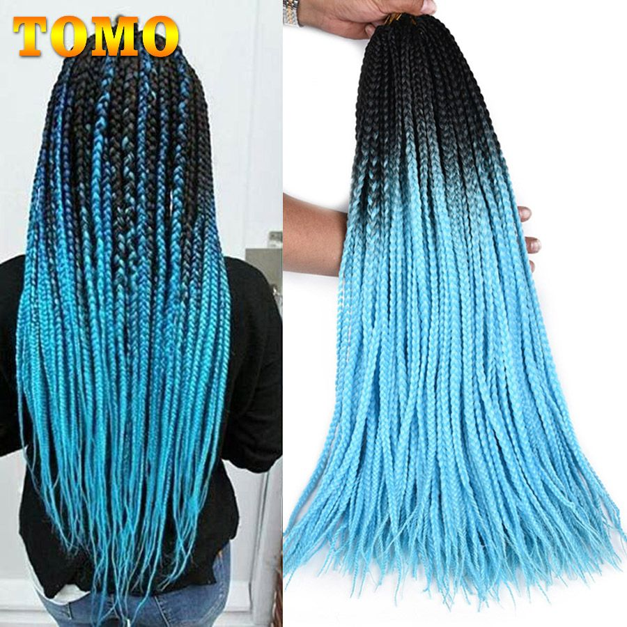 TOMO Colored Box Braid Crotchet Braids 24Inch Synthetic Ombre Kanekalon Braiding Hair Extension 22Roots Blue Pink Bug