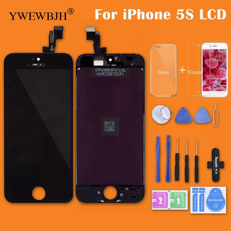 YWEWBJH AAA LCD Écran Tactile Pour iPhone 5 5S 5C LCD Assemblée d'affichage Avec Digitizer Verre Pas Morts Réparation Partie Noir Blanc