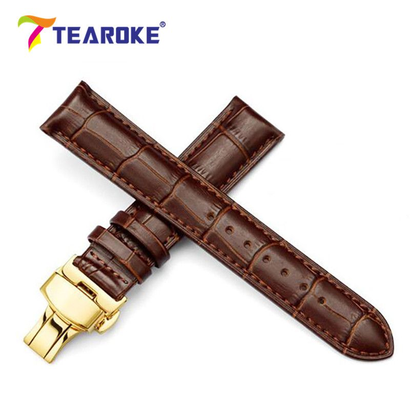 Genuine Leather Watchband 18-24mm Gold Butterfly Deployant Buckle Stainless Steel Clasp Replacement Belt Strap Watch Accessories