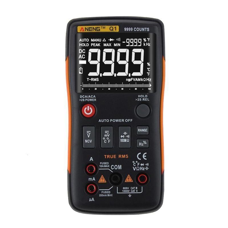 ANENG Q1 True-RMS Digital Multimeter Auto Button 9999 Counts Analog Bar Graph AC/DC Voltage Ammeter Current Ohm Transistor Teste
