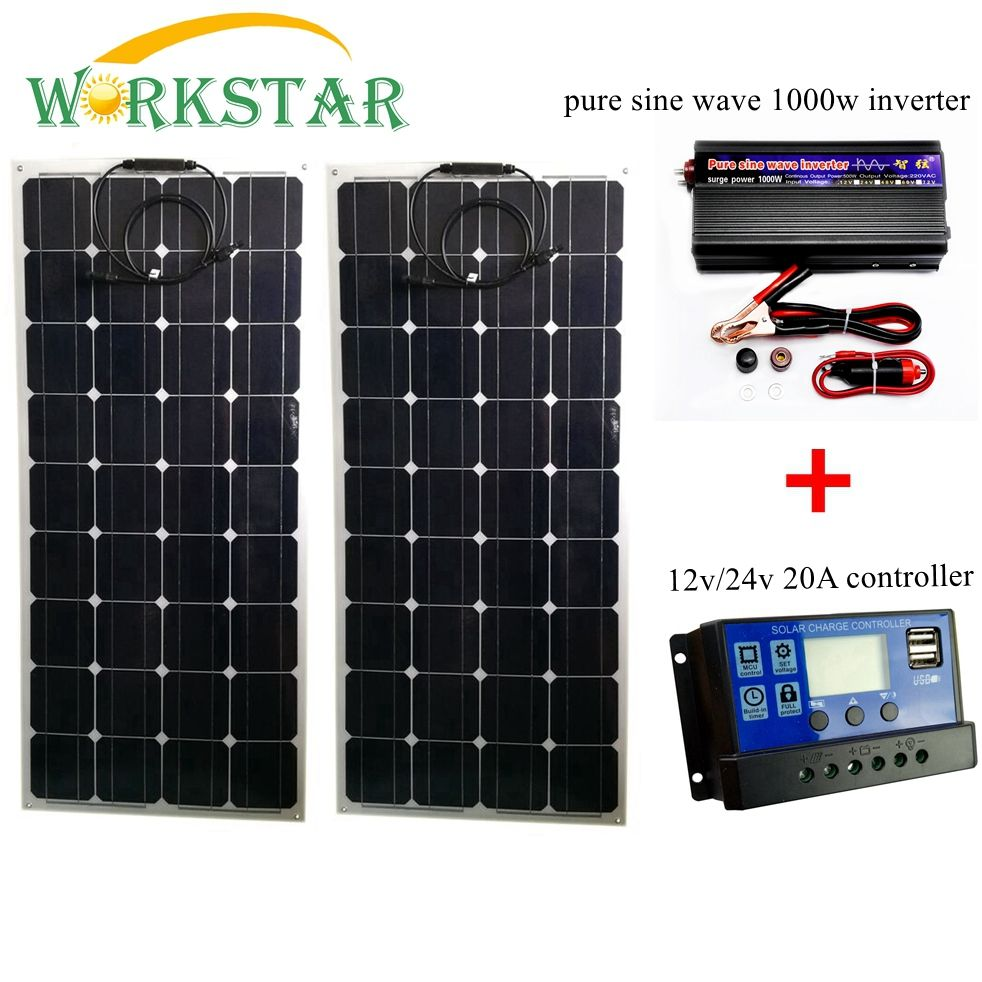 2*100W Flexible Solar Panels with 20A Controller and 1000W Pure Sine Wave Inverter 200W Solar System for Beginner for RV/boat