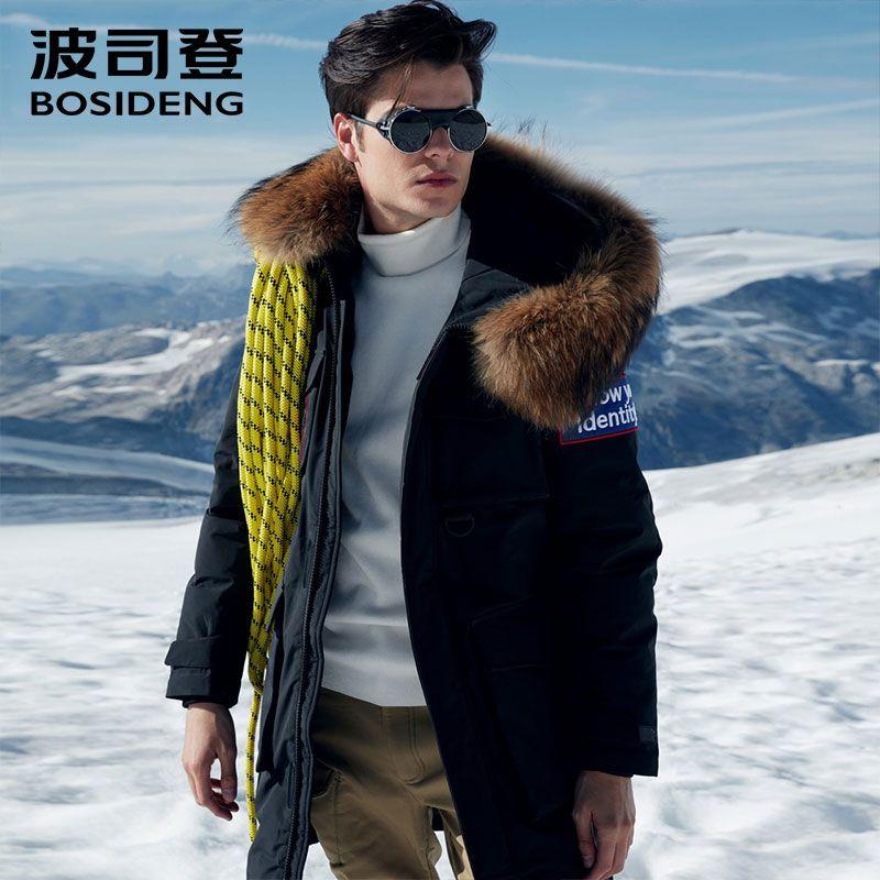 BOSIDENG 2018 NEW deep winter goose down jacket for men thicken outwear real fur patch designs waterproof windproof B80142151
