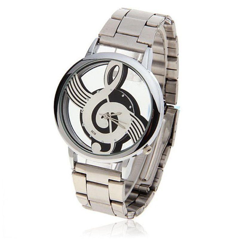 Étanche Homme montres Note musique Notation métal acier inoxydable Quartz mode luxe Design Montre-bracelet pour hommes Montre Homme