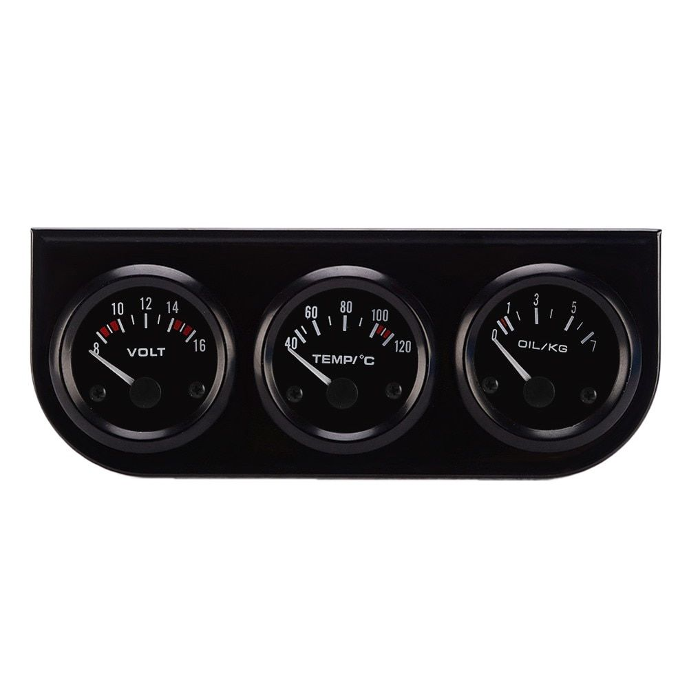 52mm Triple Gauge 3 in 1 VoltMeter + Water Temp Gauge + Oil press Gauge For Cars And Motors oil pressure sensor