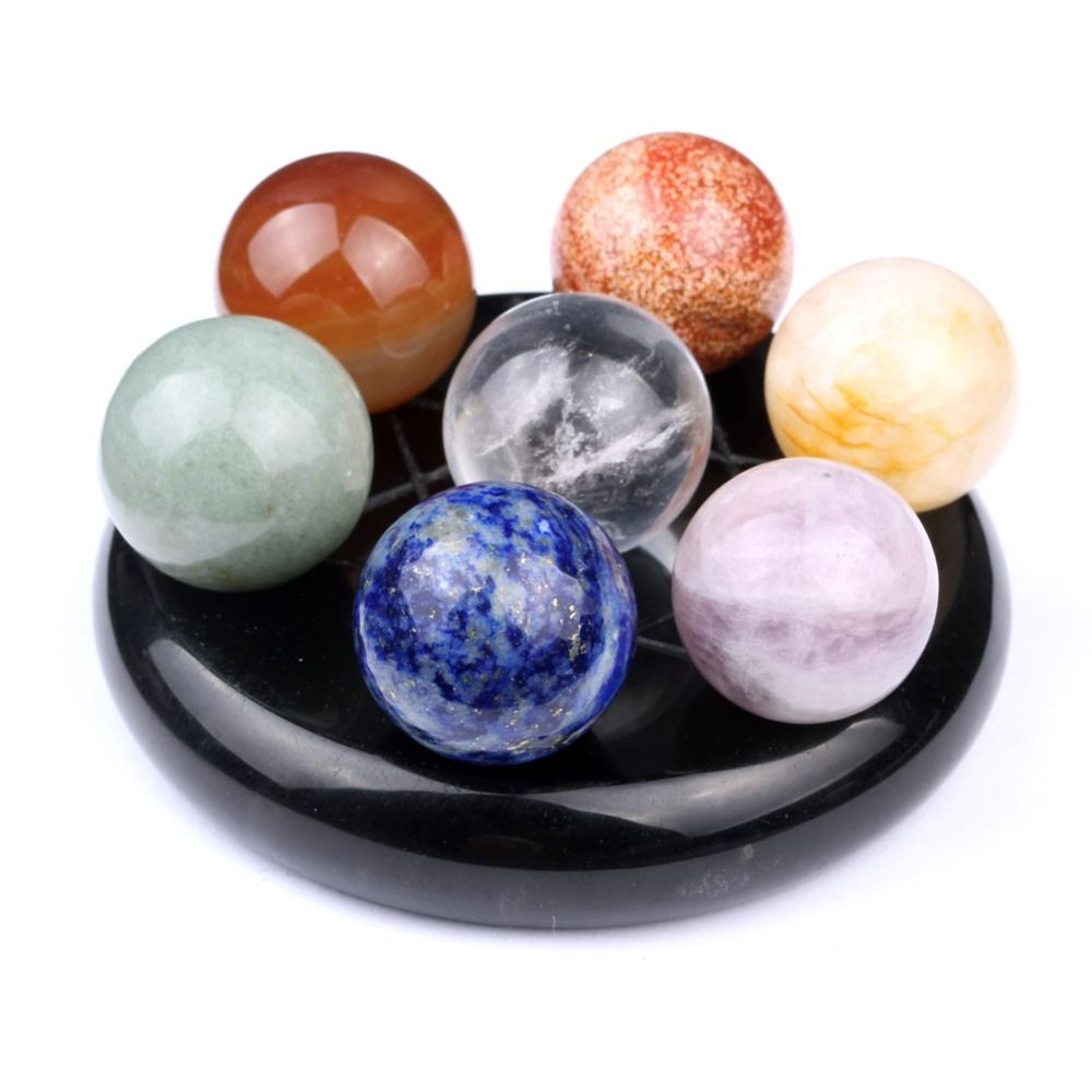 Natural Tumbled Chakra Stones Quartz Crystals Carved Fengshui Seven-star Appetizer Plate Crystal Ball SPH119