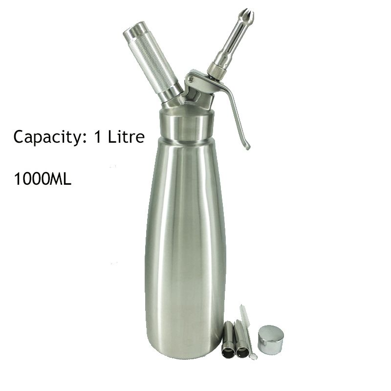 Free Shipipng Military Grade Stainless Steel 1 Litre (1000ml)Whipped Cream Dispenser/Cream Whipper with 3 Decorating Nozzles