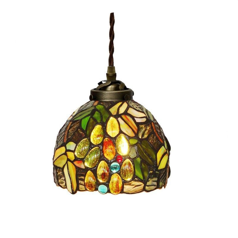 Nordic Design Modern Stained Glass Single LED Hanging Pendant Lamp Light For Kitchen Dining Room Restaurant Stairs Lighting