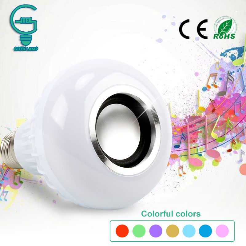 Wireless Bluetooth Speaker Bulb Music Playing Dimmable 12W LED Bulb Light Lamp E27 Music Playing Bombillas Ampoule Lampada