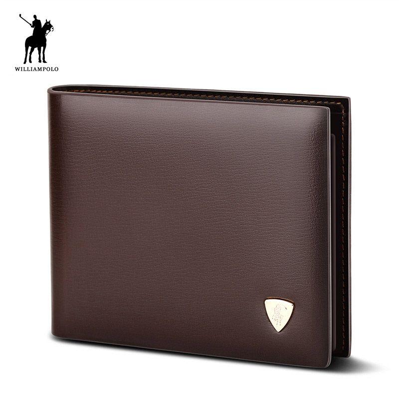 WilliamPOLO 2018 Mode Kuh Leder Schlanke Brieftasche Kleine Brieftasche Designer Geld Geldbörse Hohe Qualität Leder Brieftasche Braun #147