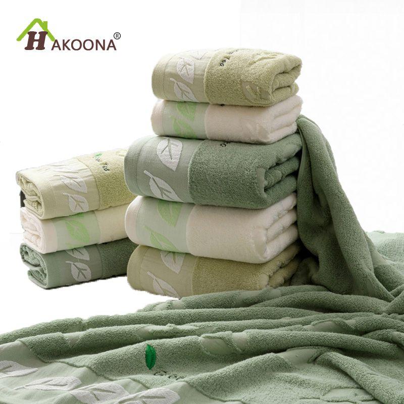 HAKOONA thé vert brodé feuilles serviettes pour adultes 80*40 cm 100% coton bain douche serviettes grand visage salle de bain serviettes
