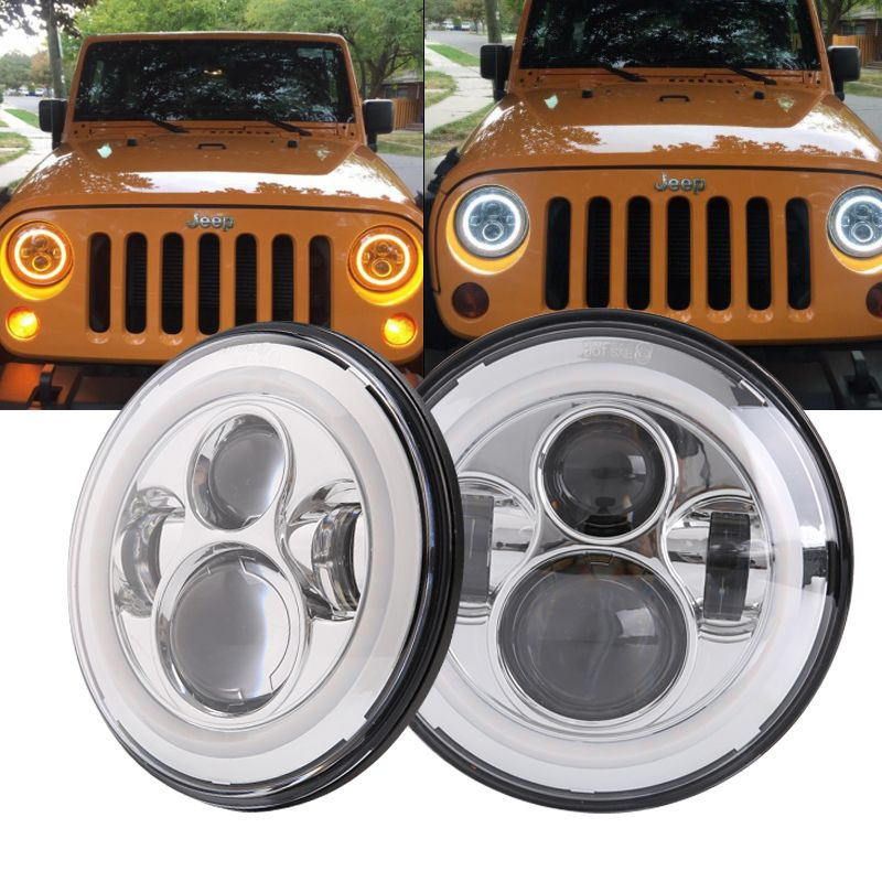 For Lada 4x4 Urban Niva 7 Inch H4 40W LED Headlights lights Lamp With Angle Eyes 7