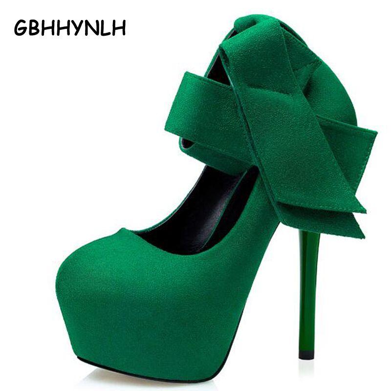Extreme обувь на высоком каблуке сексуальные каблуки Женские модельные туфли с бантом женская обувь на платформе зеленые туфли-лодочки красны...