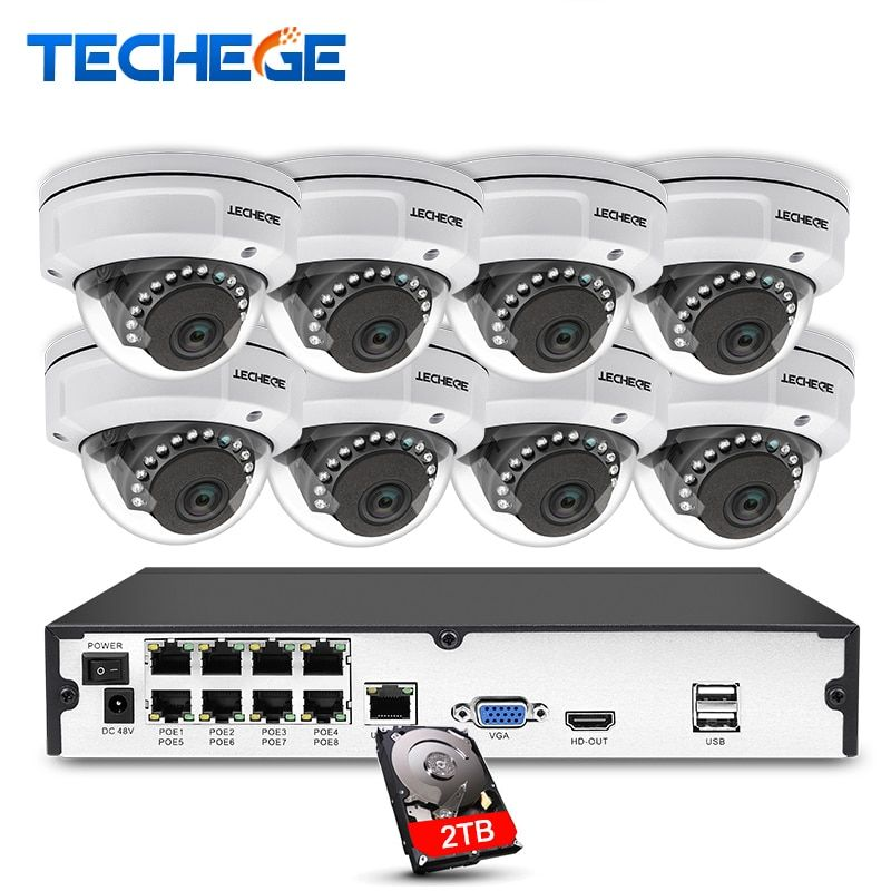 Techege 8CH 1080P POE NVR Video Surveillance Camera System 2MP HD Network IP Camera Weatherproof Vandalproof CCTV NVR System