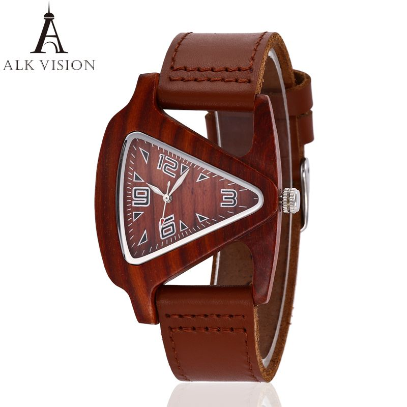 ALK Wood watch 2017 fashion leather strap wooden watch lovers wood watches for men women casual quartz wristwatch dropshipping