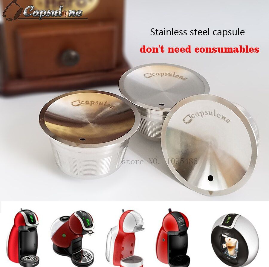 Capsulone/STAINLESS STEEL Metal capsule Compatible for dolce gusto Machine Refillable Reusable capsule /gift coffee cafe