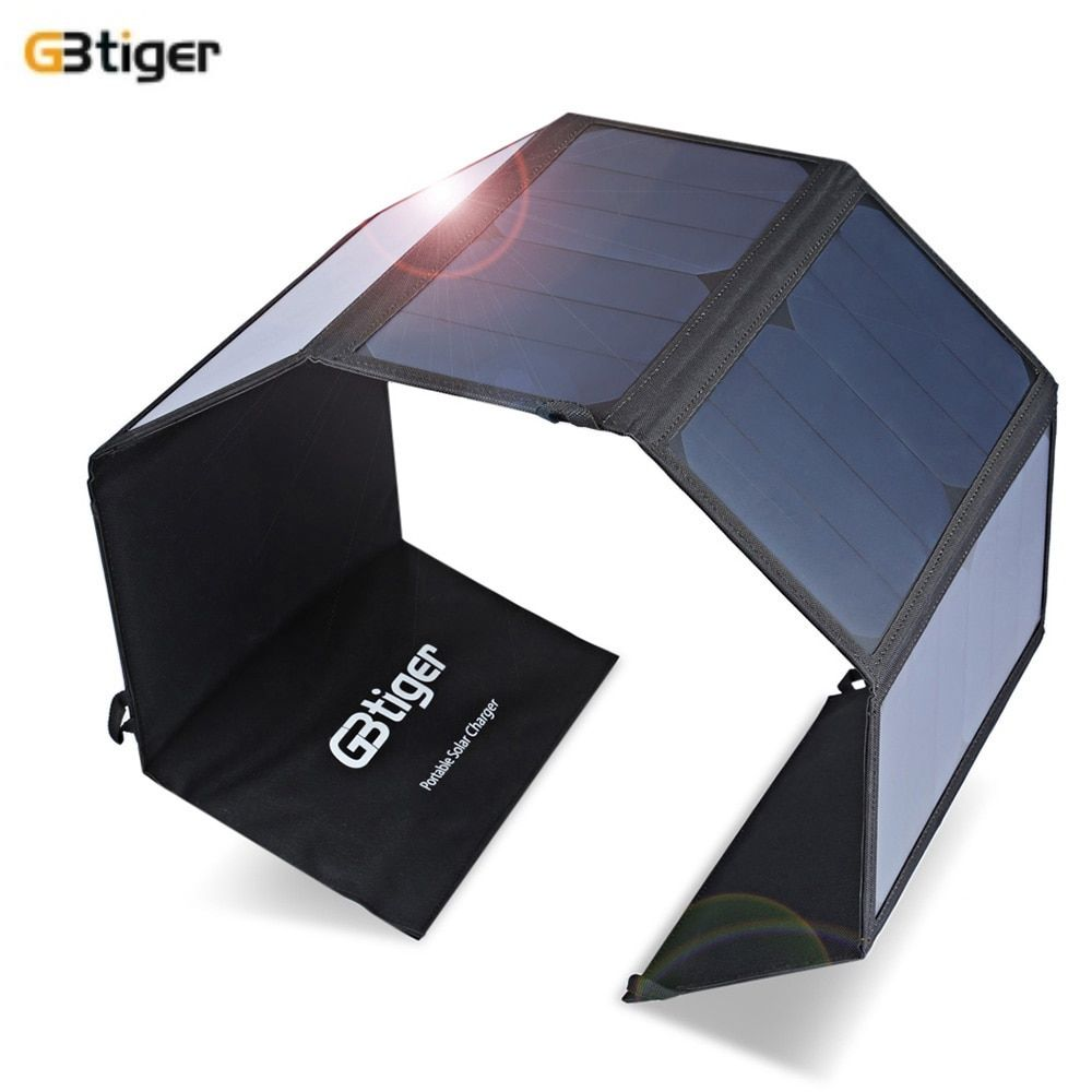 GBtiger 40W Dual Output Portable Sunpower Solar Charger Panel Water Resistant Folding Bag Output 5V 1.5A DC 19V 1.5A USB DC port