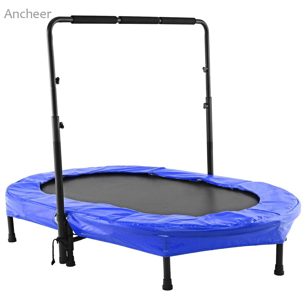 ANCHEER  new Twin Trampoline Adjustable Handlebar Parent-Child Trampoline Twin Trampoline with Safety Pad Weight limits 220lbs