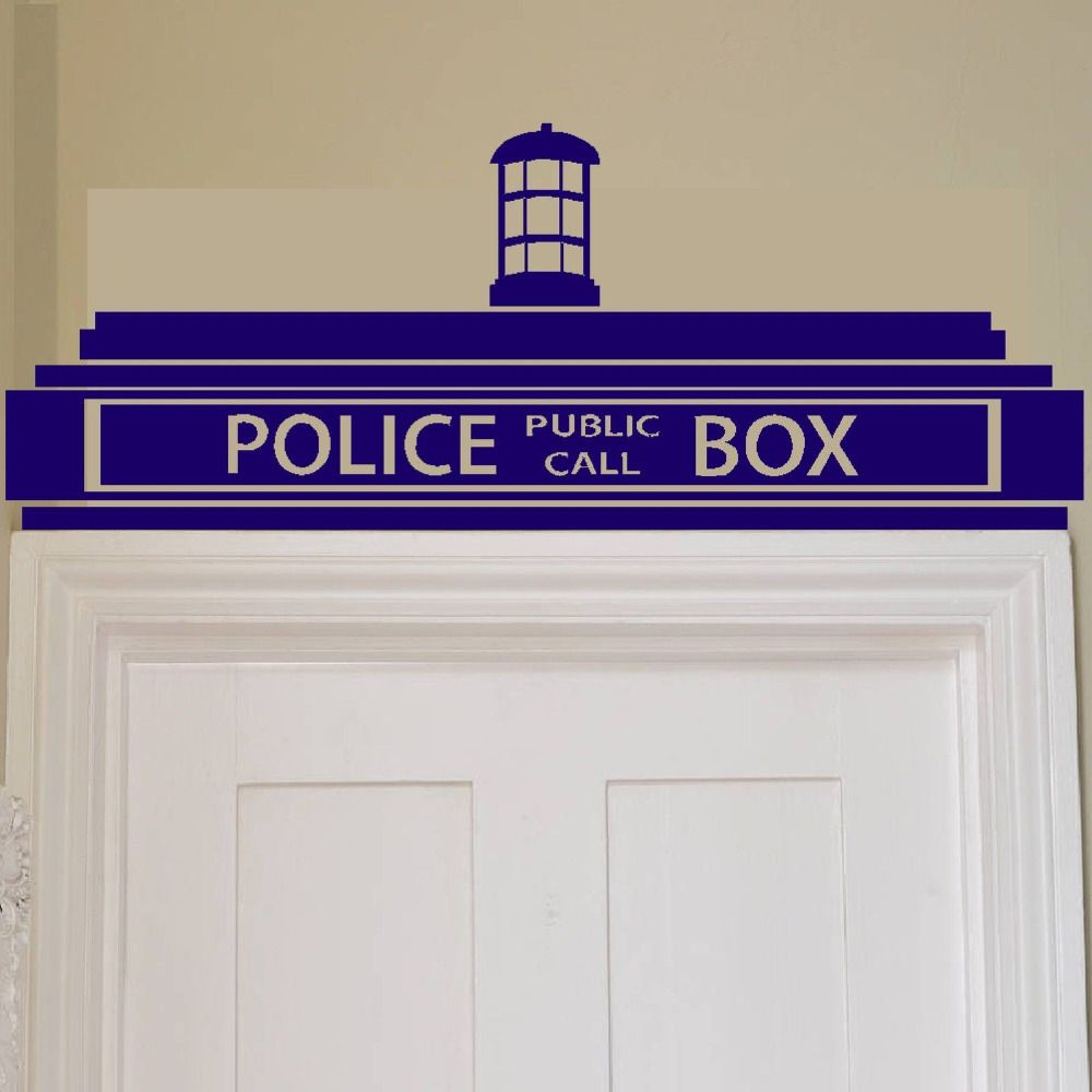 Livraison gratuite Creative Doctor Who Tardis Police Box Sticker mural/décor Design enfants transfert vinyle, H0017