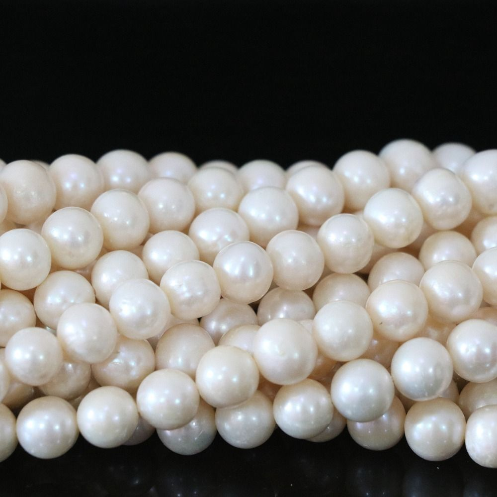 Nearround cultivadas de agua dulce blanco de la perla natural 8-9mm granos flojos para las mujeres diy joyería collar pulsera 15 pulgadas B1326