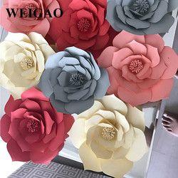 WEIGAO 2 Pcs 20 cm De Mariage Toile de Fond Papier Rose Fleurs Enfants D'anniversaire Licorne Partie DIY Artificielle Fleur de Papier Décoration Fournitures
