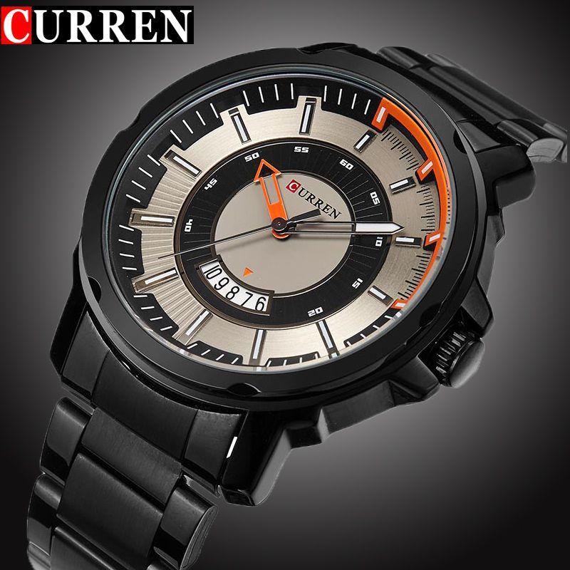 Curren Luxury Sport reloj de cuarzo moda casual Top Brand Militar cuarzo negro banda de acero reloj hombre