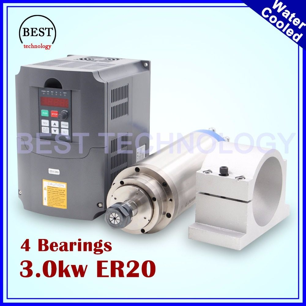 CNC spindle motor 3kw ER20 water-cooled spindle motor 4 Bearings for stone & 3kw VFD / inverter & 100mm & cast aluminium bracket
