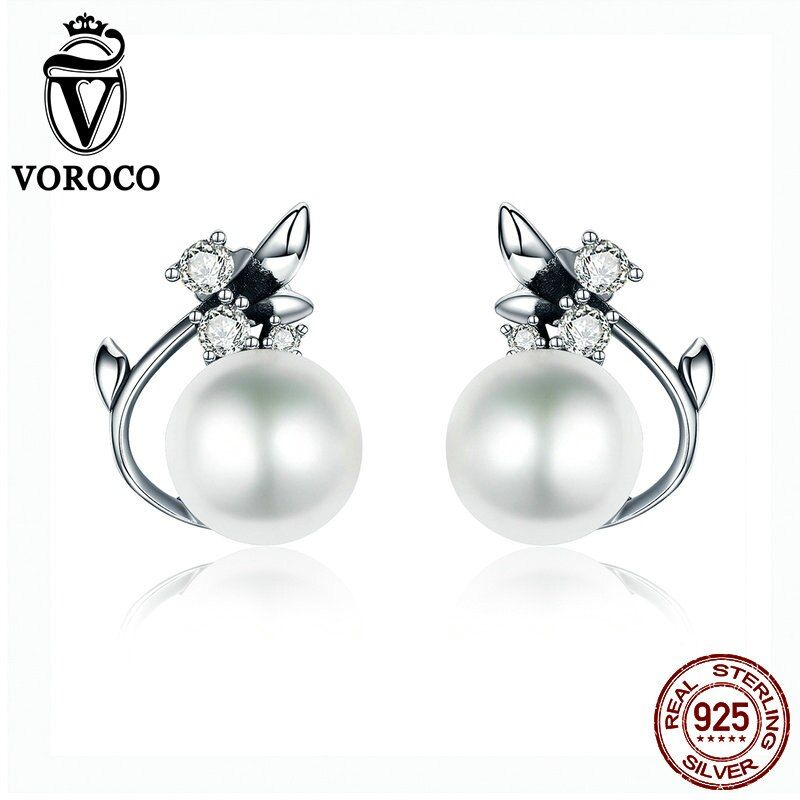 VOROCO Vintage Genuine 925 Sterling Silver Round Shape Pearl Stud Earrings for Women Wedding Engagement Jewelry VSE018
