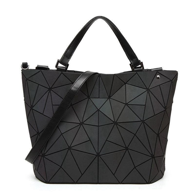 2018 Japan Luminous Geometric Women's Handbags Women Bucket Shoulder Messenger Bags Folding Handbag Female Tote Sac With Logo