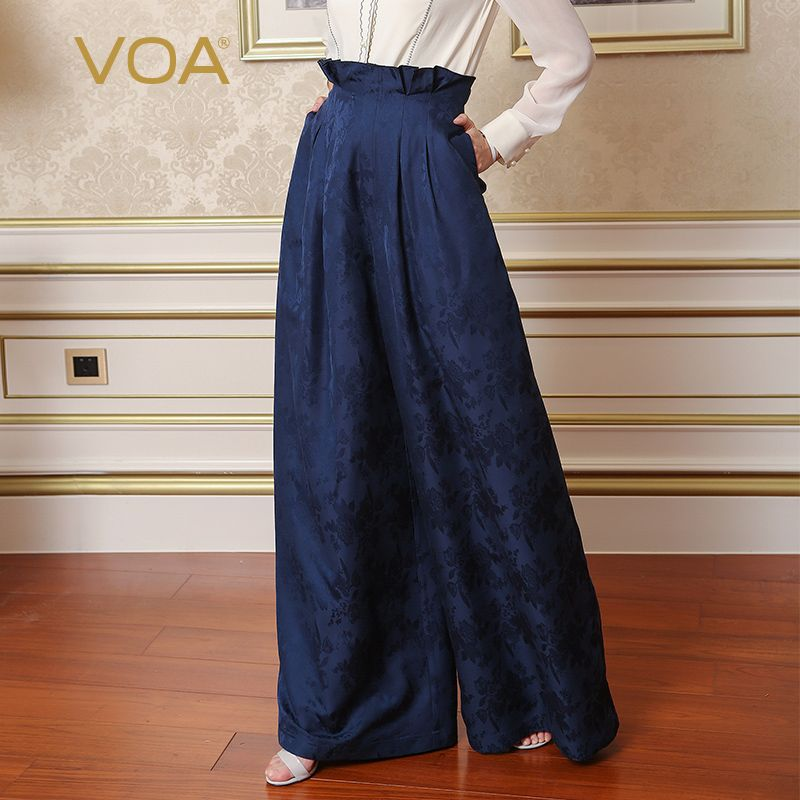 VOA Heavy Silk Plus Size 5XL Loose Palazzo Pants Women High Waist Wide Leg Pants Navy Blue Ruffle Print Trouser Casual KLH00201