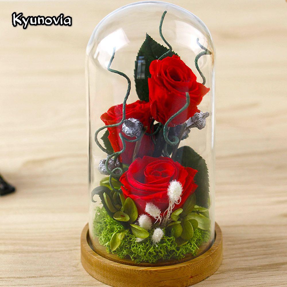 Kyunovia Valentine's Day Glass Cover Fresh Preserved Rose Flower Beautiful Mother birthday gift Wedding Home Decoration KY77